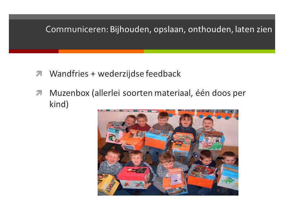 Communiceren: Bijhouden, opslaan, onthouden, laten zien  Wandfries + wederzijdse feedback  Muzenbox (allerlei soorten materiaal, één doos per kind)