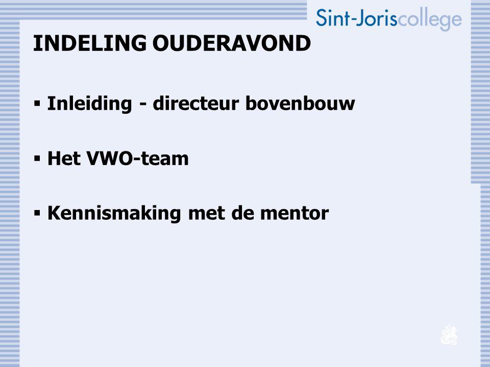 INDELING OUDERAVOND  Inleiding - directeur bovenbouw  Het VWO-team  Kennismaking met de mentor