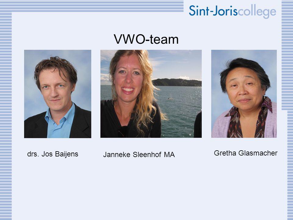 VWO-team drs. Jos Baijens Gretha Glasmacher Janneke Sleenhof MA