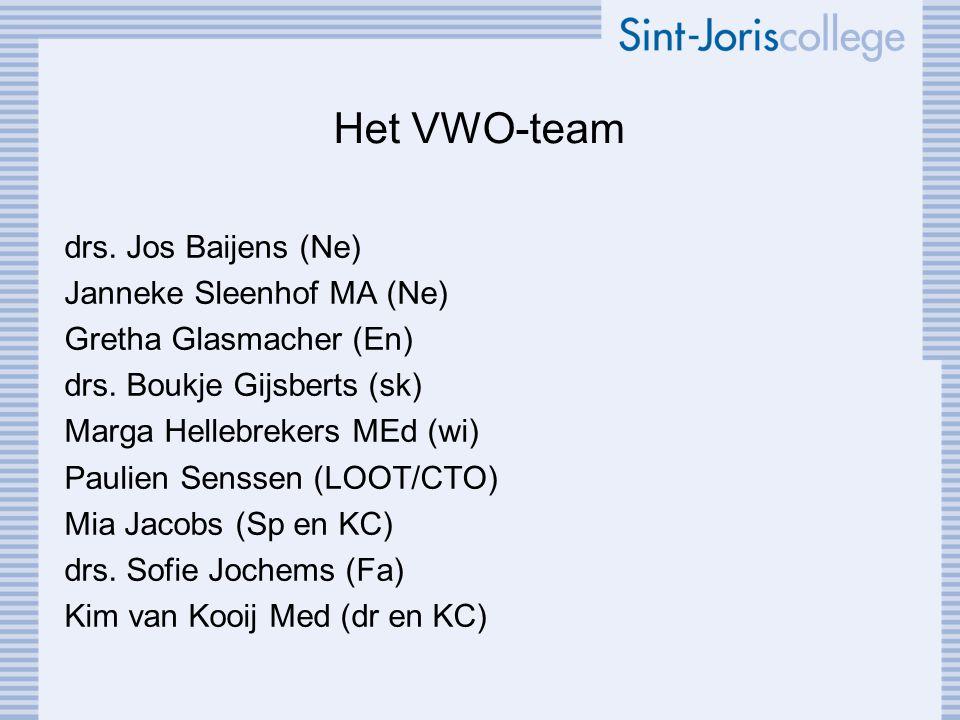 Het VWO-team drs. Jos Baijens (Ne) Janneke Sleenhof MA (Ne) Gretha Glasmacher (En) drs. Boukje Gijsberts (sk) Marga Hellebrekers MEd (wi) Paulien Sens