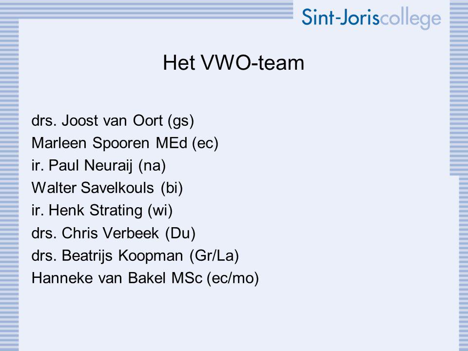 Het VWO-team drs. Joost van Oort (gs) Marleen Spooren MEd (ec) ir. Paul Neuraij (na) Walter Savelkouls (bi) ir. Henk Strating (wi) drs. Chris Verbeek