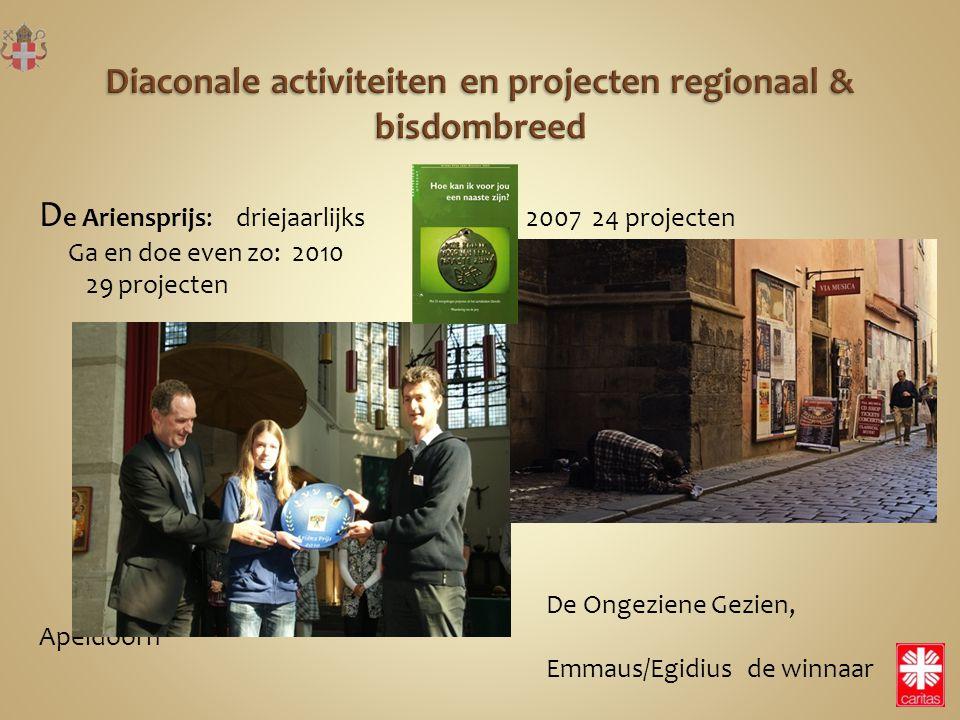 D e Ariensprijs: driejaarlijks 2007 24 projecten Ga en doe even zo: 2010 29 projecten De Ongeziene Gezien, Apeldoorn Emmaus/Egidius de winnaar