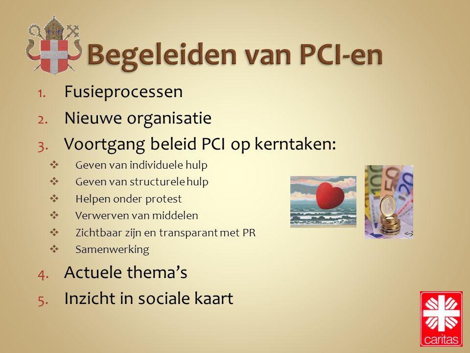 1. Fusieprocessen 2. Nieuwe organisatie 3. Voortgang beleid PCI op kerntaken:  Geven van individuele hulp  Geven van structurele hulp  Helpen onder