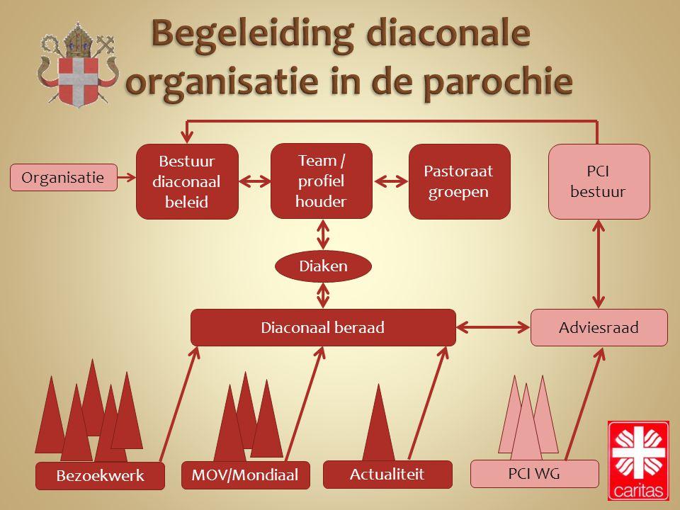 Team / profiel houder Bestuur diaconaal beleid PCI bestuur Pastoraat groepen Organisatie Diaconaal beraadAdviesraad Diaken Bezoekwerk MOV/Mondiaal Act