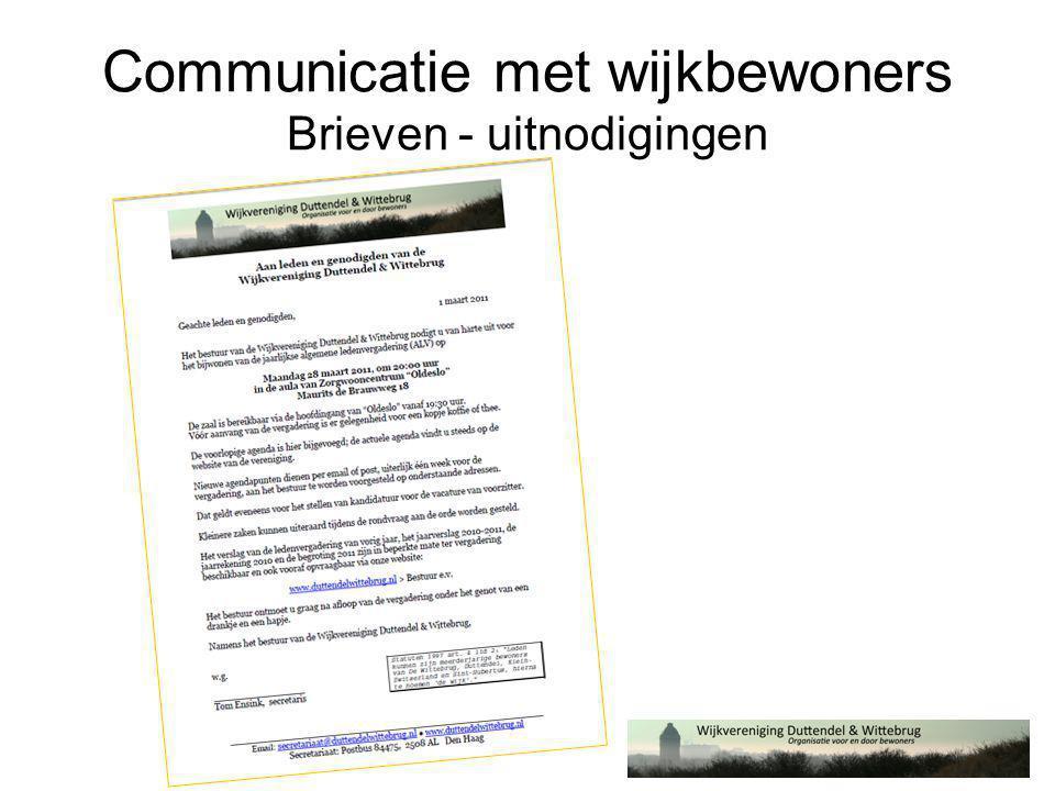 Communicatie met wijkbewoners Brieven - uitnodigingen