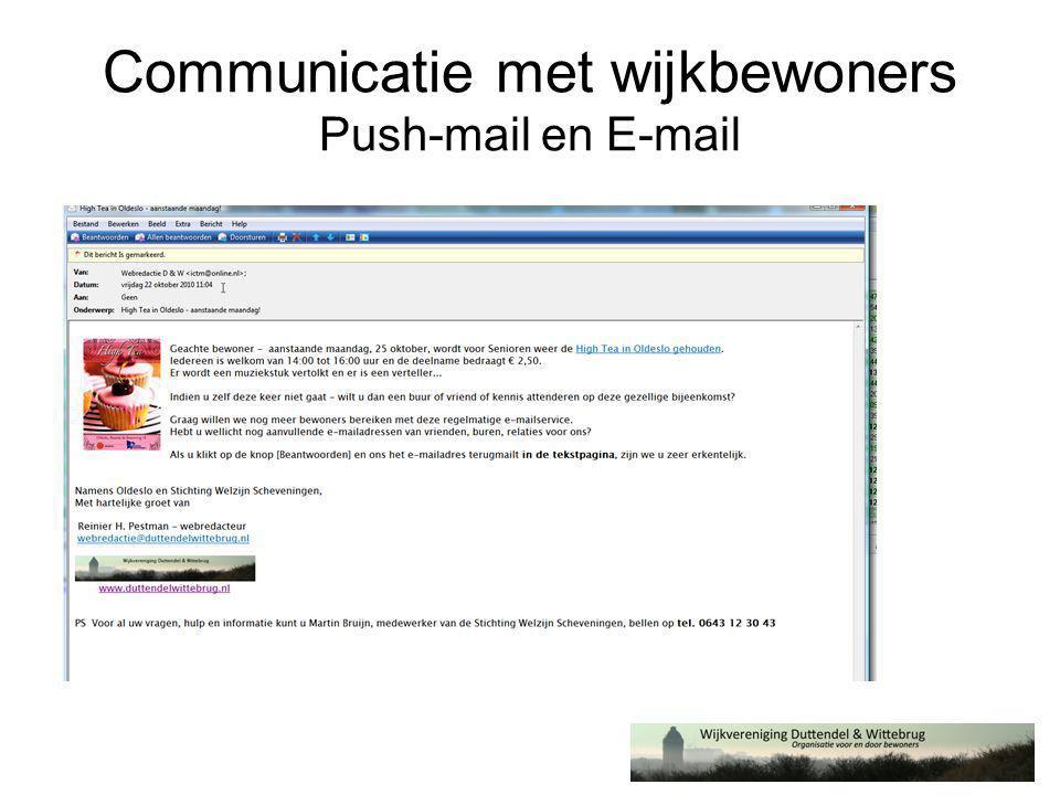 Communicatie met wijkbewoners Push-mail en E-mail