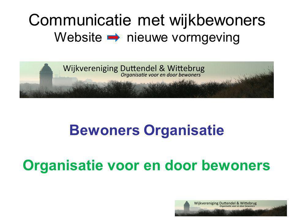 Communicatie met wijkbewoners Website nieuwe vormgeving Bewoners Organisatie Organisatie voor en door bewoners