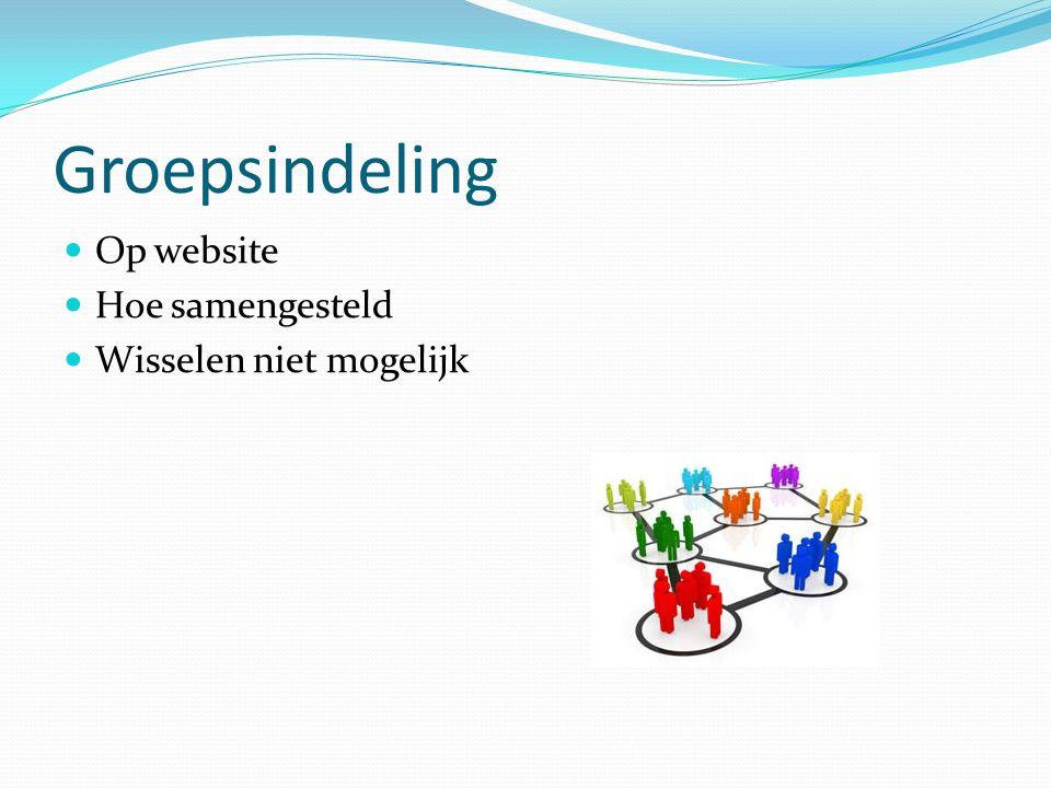 Groepsindeling  Op website  Hoe samengesteld  Wisselen niet mogelijk