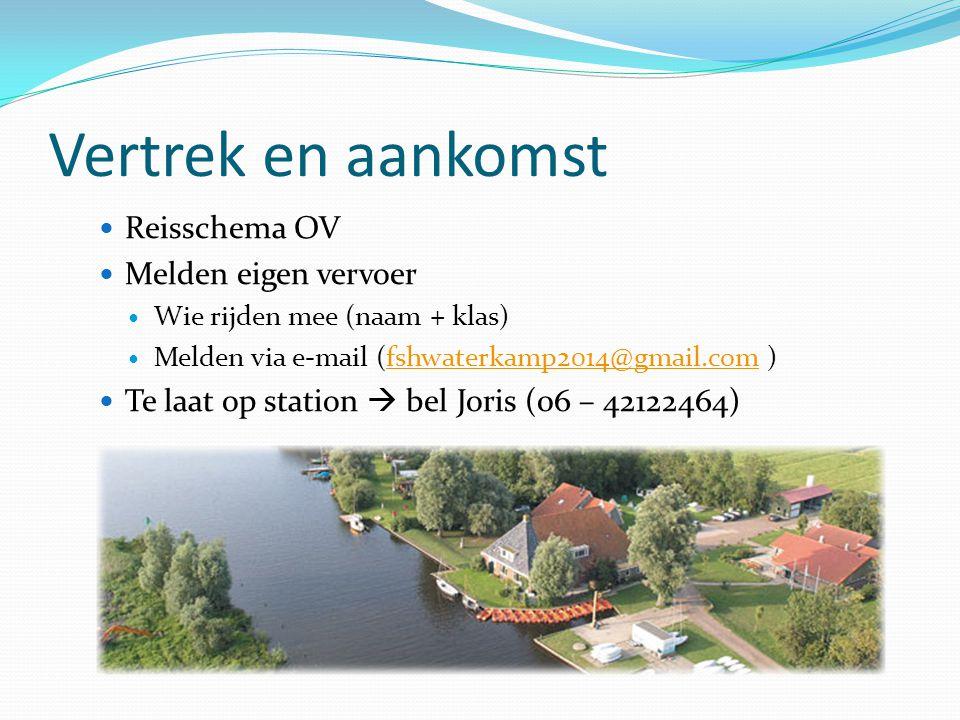 Vertrek en aankomst  Reisschema OV  Melden eigen vervoer  Wie rijden mee (naam + klas)  Melden via e-mail (fshwaterkamp2014@gmail.com )fshwaterkam