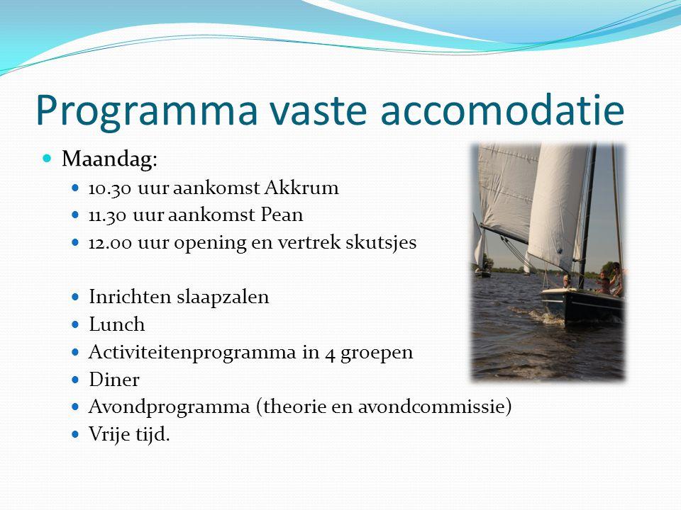 Programma vaste accomodatie  Maandag:  10.30 uur aankomst Akkrum  11.30 uur aankomst Pean  12.00 uur opening en vertrek skutsjes  Inrichten slaap