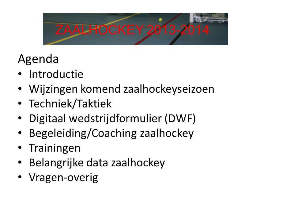 Agenda • Introductie • Wijzingen komend zaalhockeyseizoen • Techniek/Taktiek • Digitaal wedstrijdformulier (DWF) • Begeleiding/Coaching zaalhockey • T
