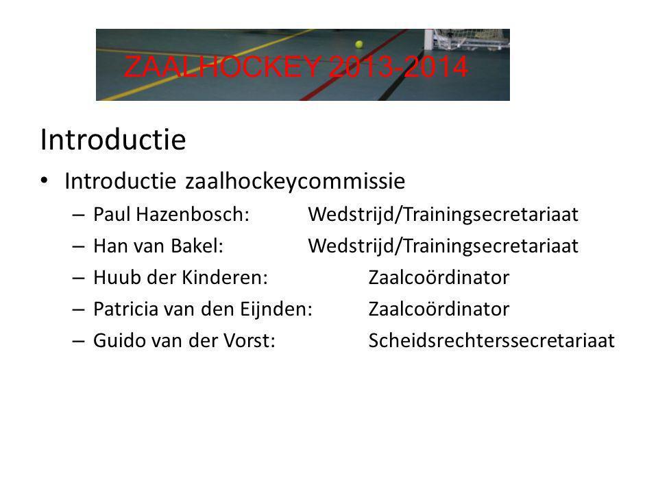 Introductie • Introductie zaalhockeycommissie – Paul Hazenbosch: Wedstrijd/Trainingsecretariaat – Han van Bakel: Wedstrijd/Trainingsecretariaat – Huub