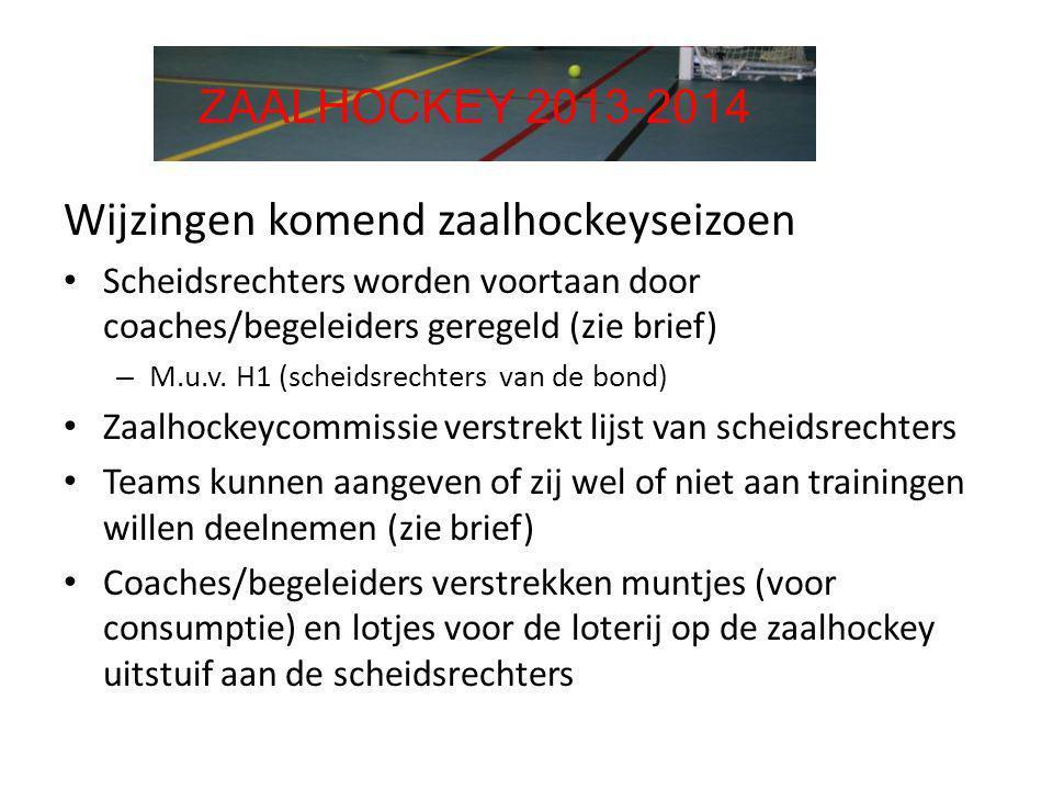 Wijzingen komend zaalhockeyseizoen • Scheidsrechters worden voortaan door coaches/begeleiders geregeld (zie brief) – M.u.v. H1 (scheidsrechters van de