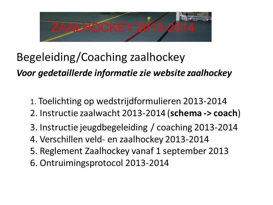 Begeleiding/Coaching zaalhockey Voor gedetaillerde informatie zie website zaalhockey 1. Toelichting op wedstrijdformulieren 2013-2014 2. Instructie za