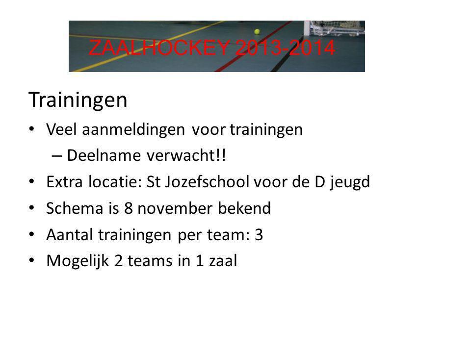 Trainingen • Veel aanmeldingen voor trainingen – Deelname verwacht!! • Extra locatie: St Jozefschool voor de D jeugd • Schema is 8 november bekend • A