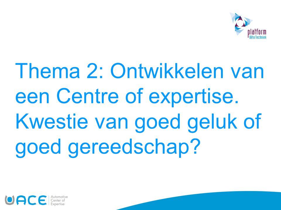 Thema 2: Ontwikkelen van een Centre of expertise. Kwestie van goed geluk of goed gereedschap?