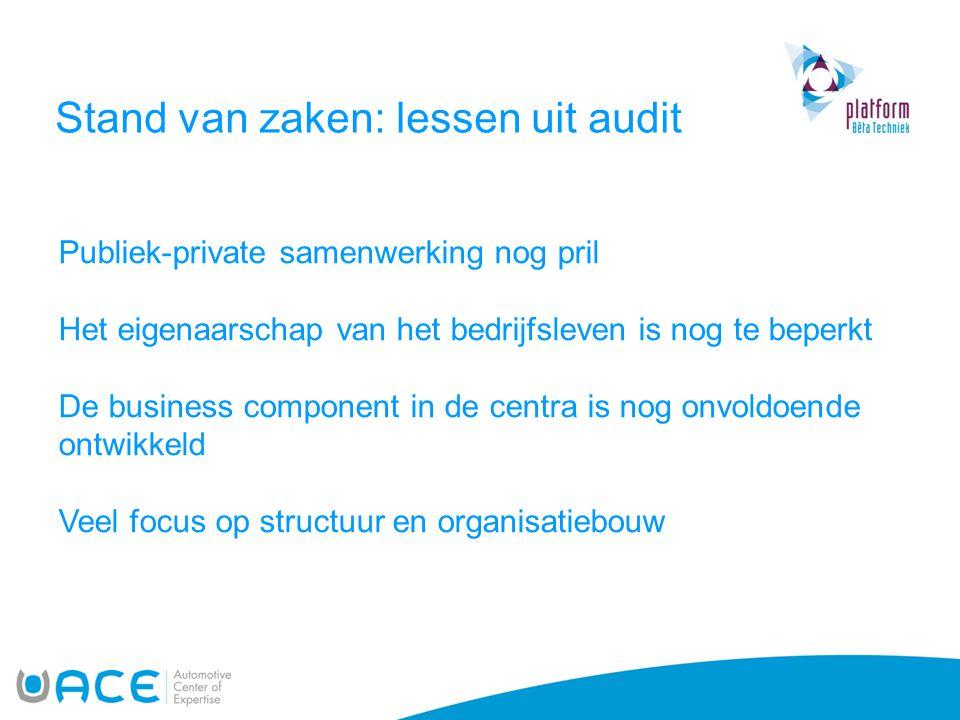 Stand van zaken: lessen uit audit Publiek-private samenwerking nog pril Het eigenaarschap van het bedrijfsleven is nog te beperkt De business componen