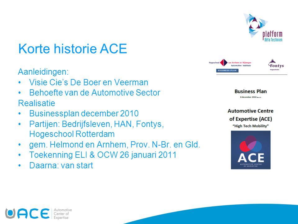 Korte historie ACE Aanleidingen: •Visie Cie's De Boer en Veerman •Behoefte van de Automotive Sector Realisatie •Businessplan december 2010 •Partijen: Bedrijfsleven, HAN, Fontys, Hogeschool Rotterdam •gem.