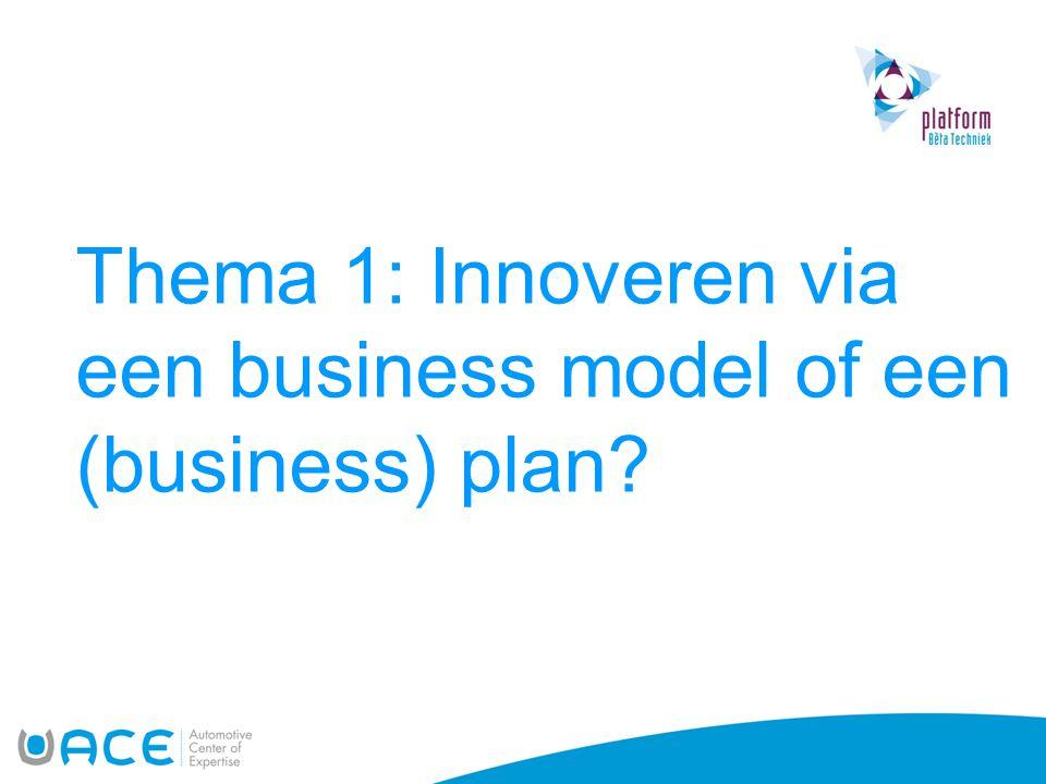Thema 1: Innoveren via een business model of een (business) plan?