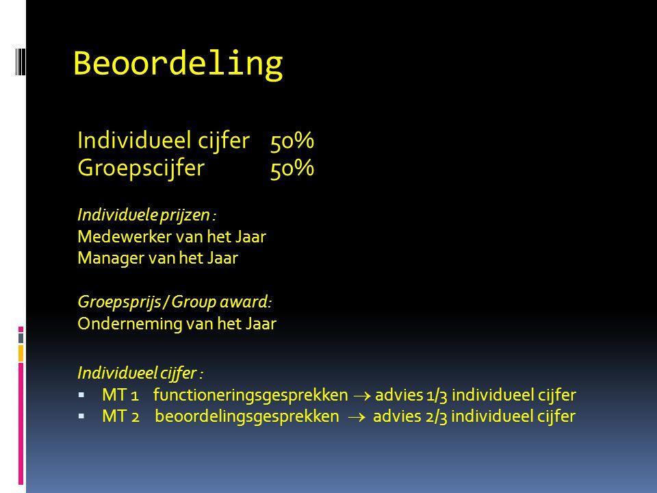 Beoordeling Individueel cijfer 50% Groepscijfer 50% Individuele prijzen : Medewerker van het Jaar Manager van het Jaar Groepsprijs / Group award: Onderneming van het Jaar Individueel cijfer :  MT 1 functioneringsgesprekken  advies 1/3 individueel cijfer  MT 2 beoordelingsgesprekken  advies 2/3 individueel cijfer
