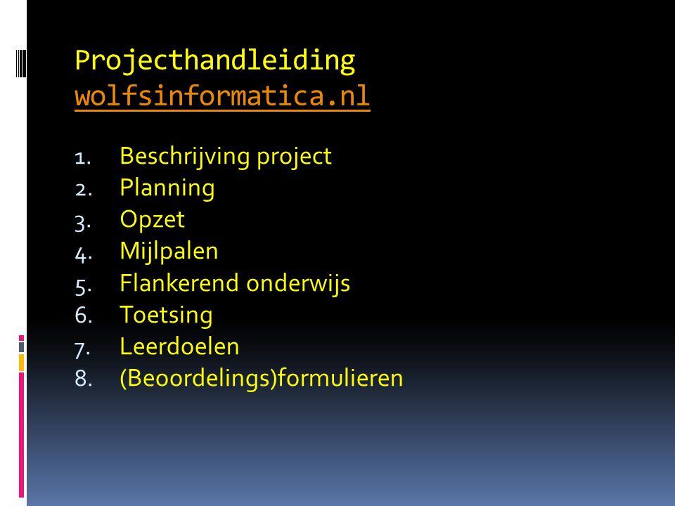 Projecthandleiding wolfsinformatica.nl wolfsinformatica.nl 1. Beschrijving project 2. Planning 3. Opzet 4. Mijlpalen 5. Flankerend onderwijs 6. Toetsi