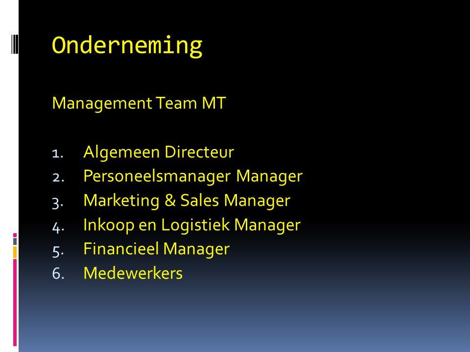 Onderneming Management Team MT 1. Algemeen Directeur 2. Personeelsmanager Manager 3. Marketing & Sales Manager 4. Inkoop en Logistiek Manager 5. Finan