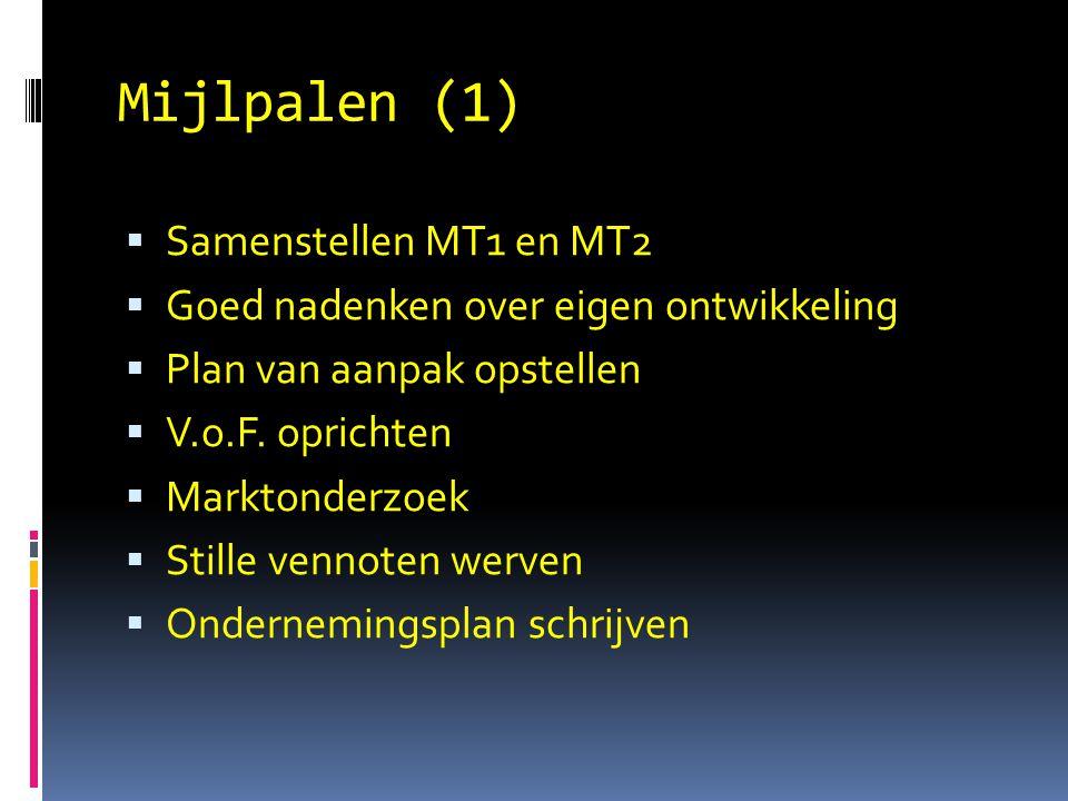 Mijlpalen (1)  Samenstellen MT1 en MT2  Goed nadenken over eigen ontwikkeling  Plan van aanpak opstellen  V.o.F. oprichten  Marktonderzoek  Stil