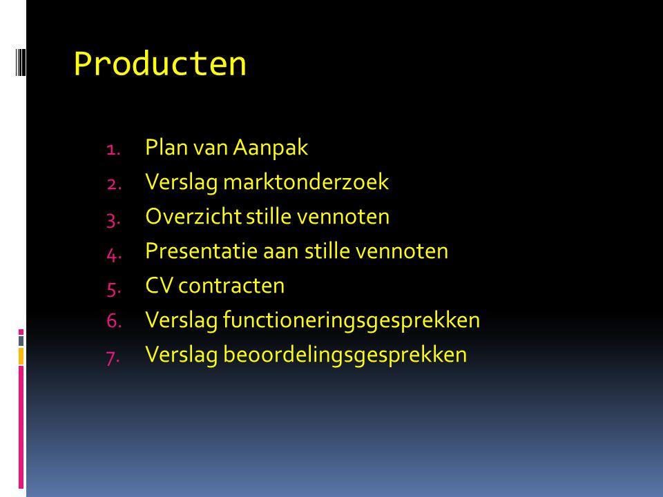Producten 1. Plan van Aanpak 2. Verslag marktonderzoek 3. Overzicht stille vennoten 4. Presentatie aan stille vennoten 5. CV contracten 6. Verslag fun