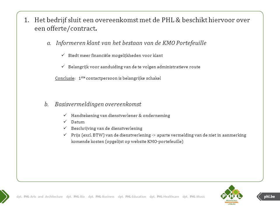 1.Het bedrijf sluit een overeenkomst met de PHL & beschikt hiervoor over een offerte/contract.
