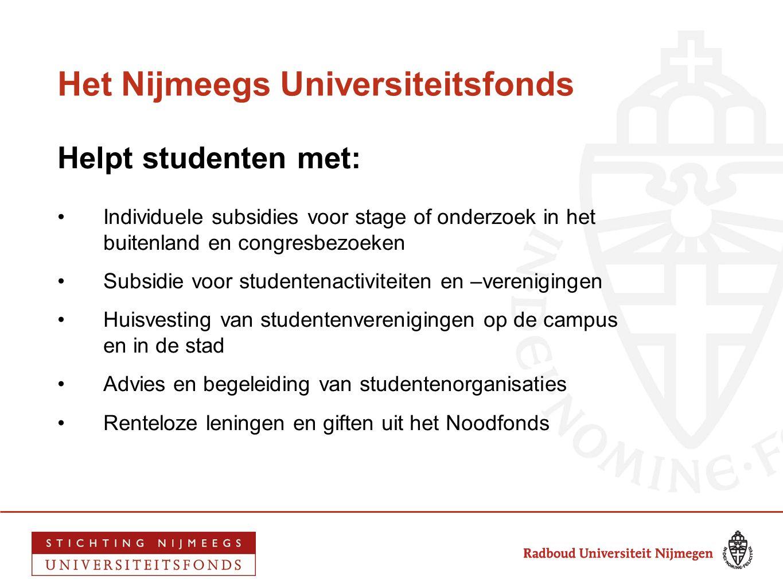 Het Nijmeegs Universiteitsfonds Helpt studenten met: •Individuele subsidies voor stage of onderzoek in het buitenland en congresbezoeken •Subsidie voo