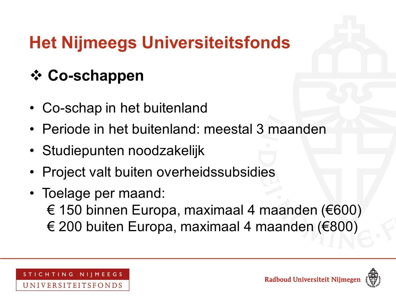 Het Nijmeegs Universiteitsfonds  Co-schappen • Co-schap in het buitenland • Periode in het buitenland: meestal 3 maanden • Studiepunten noodzakelijk