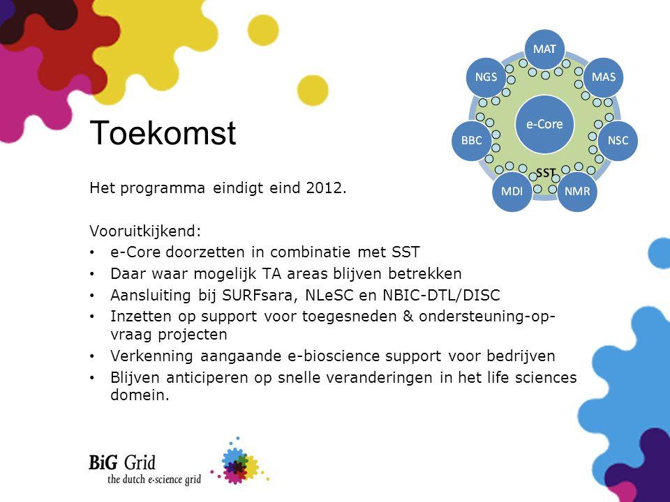 Toekomst Het programma eindigt eind 2012. Vooruitkijkend: • e-Core doorzetten in combinatie met SST • Daar waar mogelijk TA areas blijven betrekken •