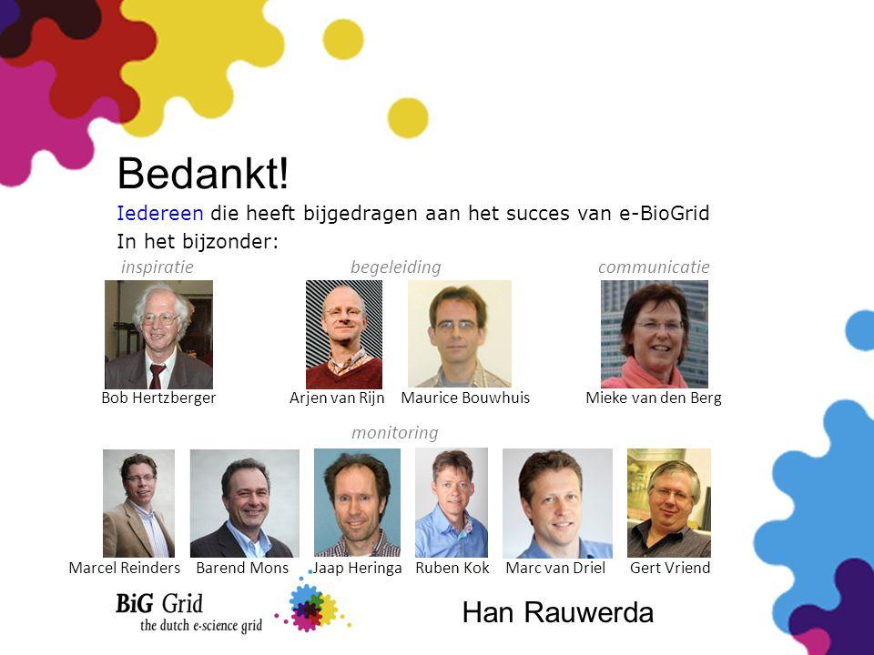 Bedankt! Bob Hertzberger Iedereen die heeft bijgedragen aan het succes van e-BioGrid In het bijzonder: inspiratie Arjen van RijnMaurice BouwhuisMieke