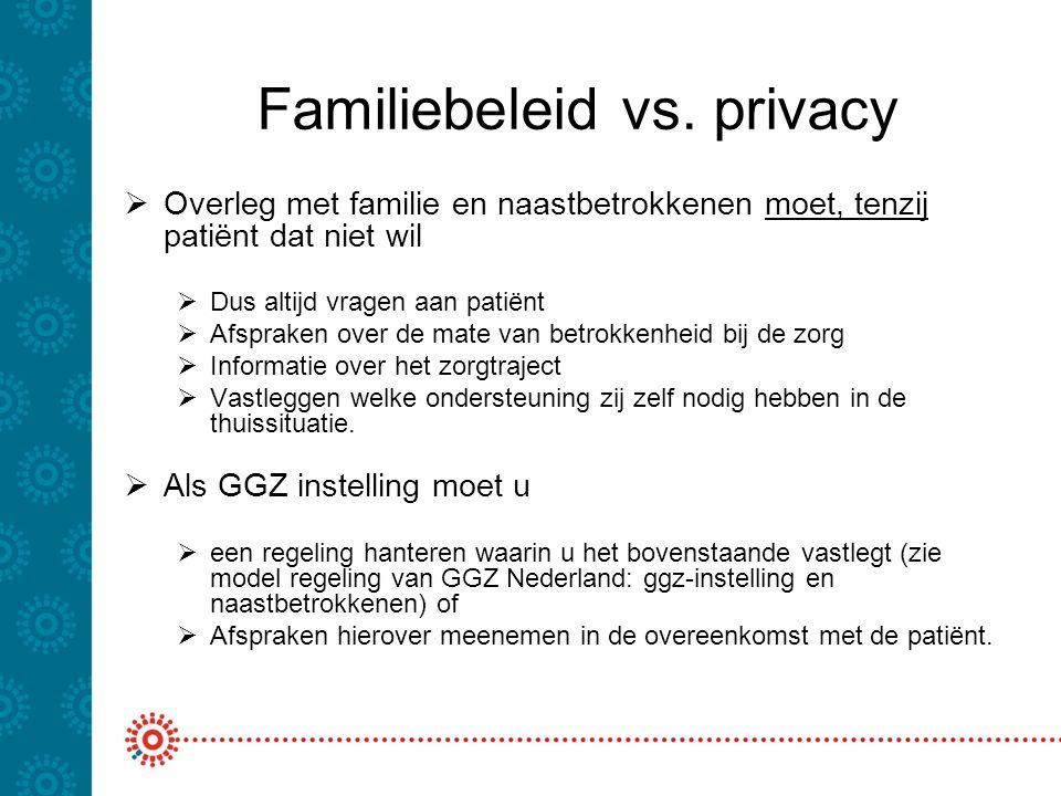 Familiebeleid vs. privacy  Overleg met familie en naastbetrokkenen moet, tenzij patiënt dat niet wil  Dus altijd vragen aan patiënt  Afspraken over