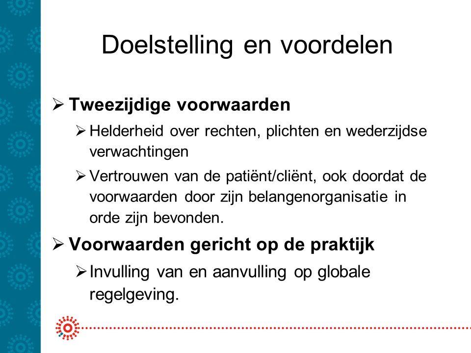 Doelstelling en voordelen  Tweezijdige voorwaarden  Helderheid over rechten, plichten en wederzijdse verwachtingen  Vertrouwen van de patiënt/cliën