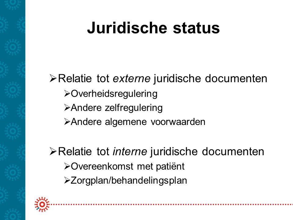 Juridische status  Relatie tot externe juridische documenten  Overheidsregulering  Andere zelfregulering  Andere algemene voorwaarden  Relatie to