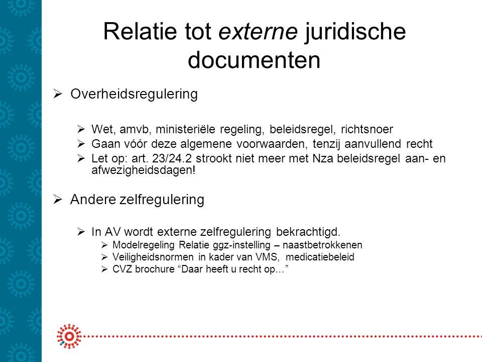 Relatie tot externe juridische documenten  Overheidsregulering  Wet, amvb, ministeriële regeling, beleidsregel, richtsnoer  Gaan vóór deze algemene