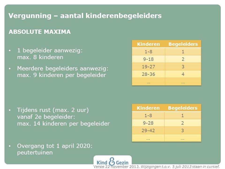 ABSOLUTE MAXIMA • 1 begeleider aanwezig: max. 8 kinderen • Meerdere begeleiders aanwezig: max. 9 kinderen per begeleider • Tijdens rust (max. 2 uur) v