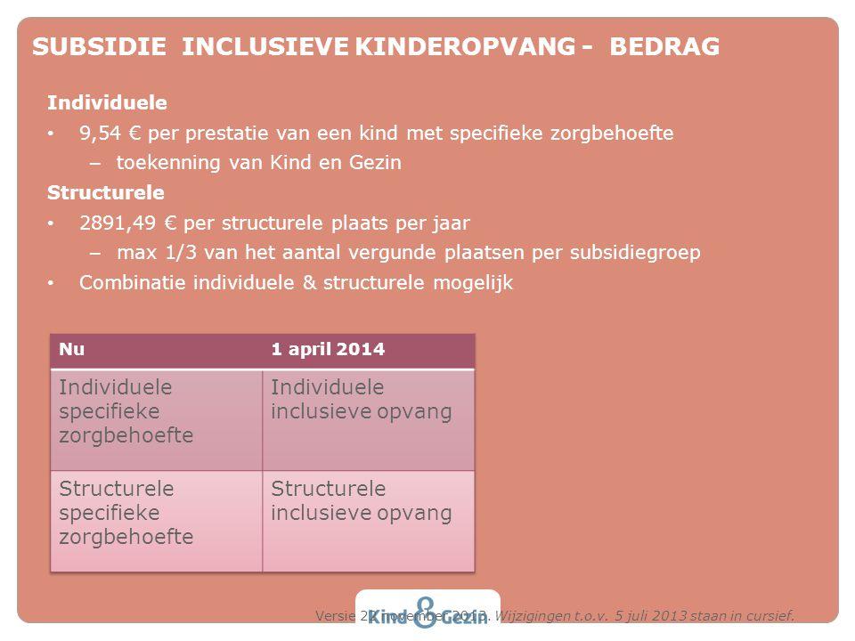 SUBSIDIE INCLUSIEVE KINDEROPVANG - BEDRAG Individuele • 9,54 € per prestatie van een kind met specifieke zorgbehoefte – toekenning van Kind en Gezin S