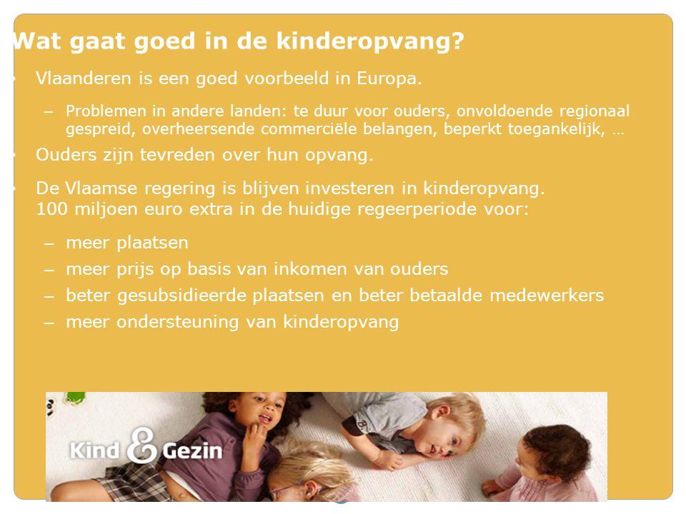 Wat gaat goed in de kinderopvang? • Vlaanderen is een goed voorbeeld in Europa. – Problemen in andere landen: te duur voor ouders, onvoldoende regiona