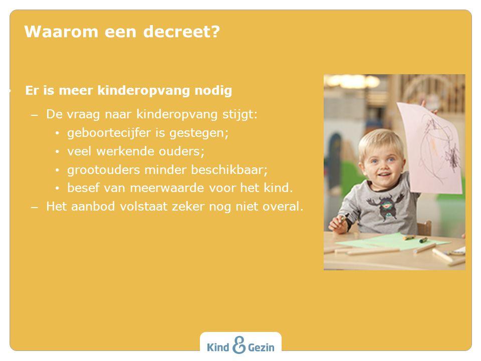 • Er is meer kinderopvang nodig – De vraag naar kinderopvang stijgt: • geboortecijfer is gestegen; • veel werkende ouders; • grootouders minder beschi