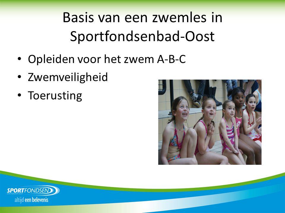 Basis van een zwemles in Sportfondsenbad-Oost • Opleiden voor het zwem A-B-C • Zwemveiligheid • Toerusting