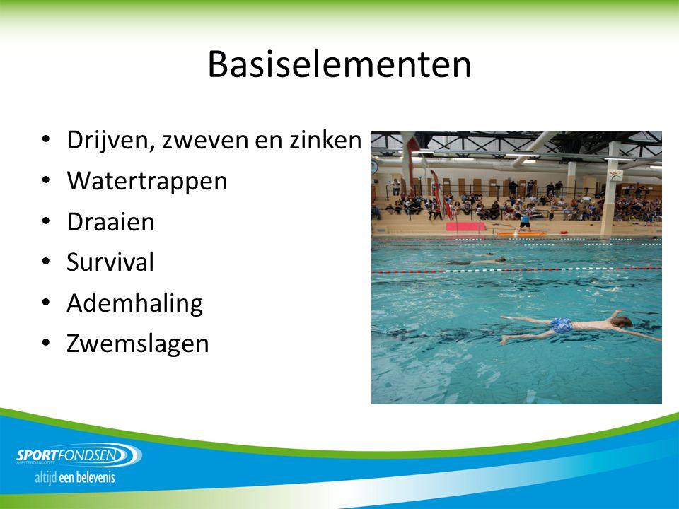 Basiselementen • Drijven, zweven en zinken • Watertrappen • Draaien • Survival • Ademhaling • Zwemslagen