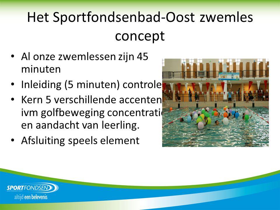 Het Sportfondsenbad-Oost zwemles concept • Al onze zwemlessen zijn 45 minuten • Inleiding (5 minuten) controle. • Kern 5 verschillende accenten ivm go