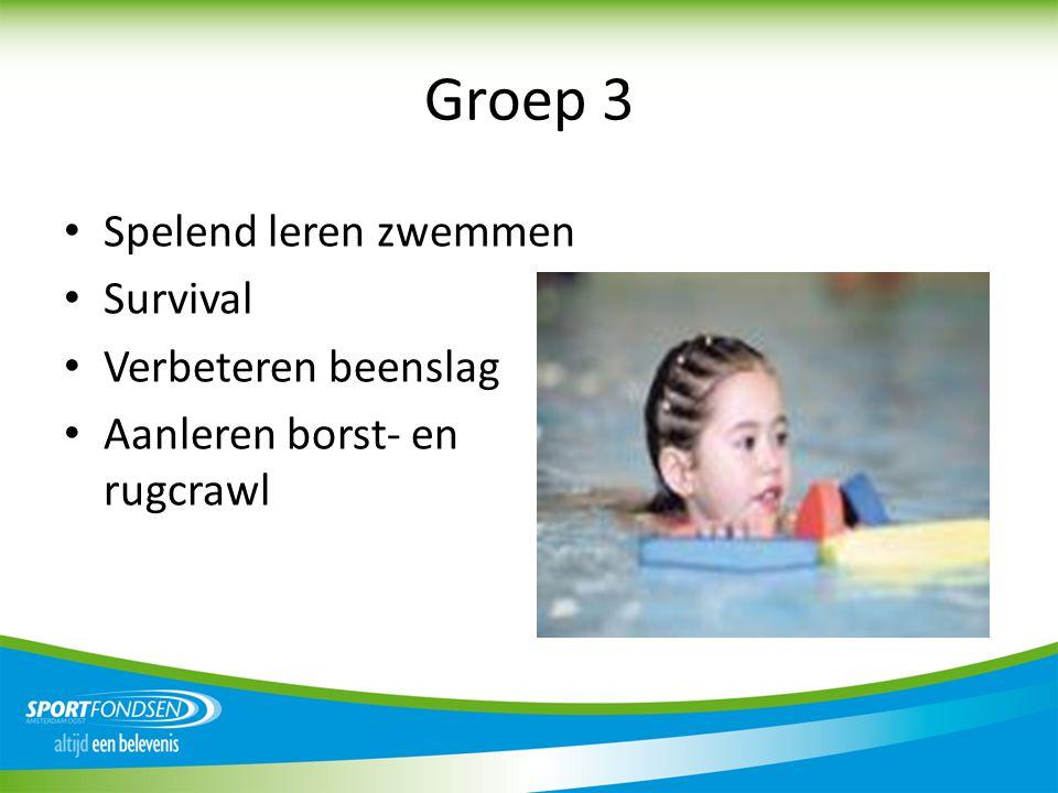 Groep 3 • Spelend leren zwemmen • Survival • Verbeteren beenslag • Aanleren borst- en rugcrawl