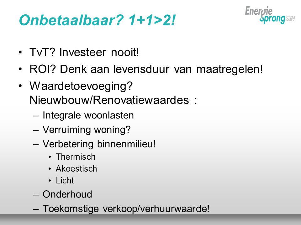 Onbetaalbaar. 1+1>2. •TvT. Investeer nooit. •ROI.