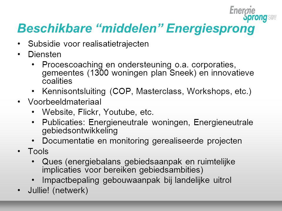 Beschikbare middelen Energiesprong •Subsidie voor realisatietrajecten •Diensten •Procescoaching en ondersteuning o.a.