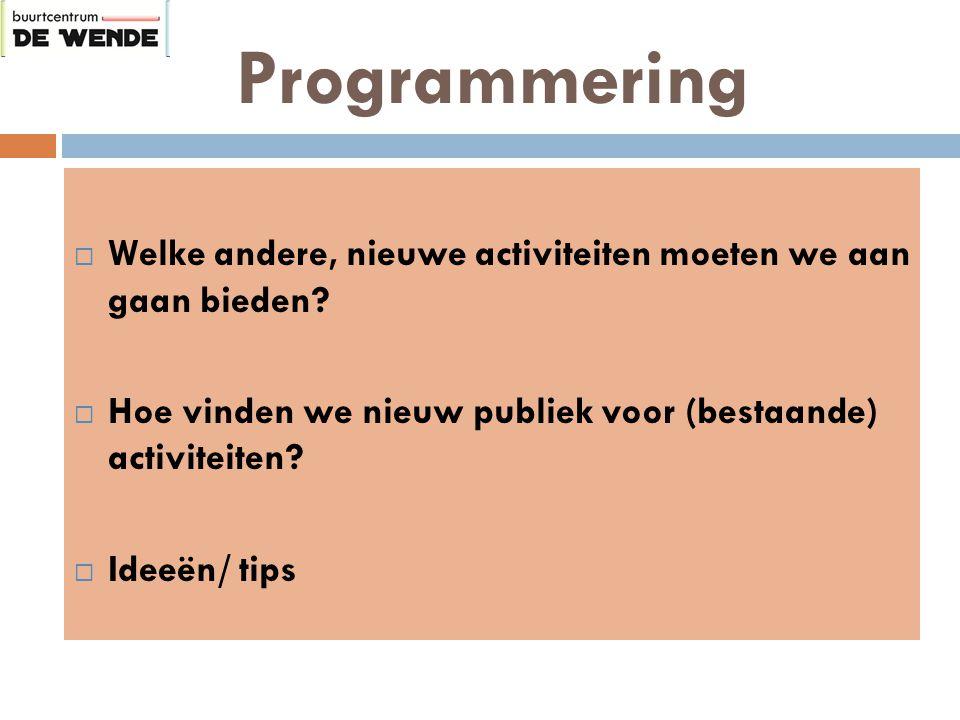 Programmering  Welke andere, nieuwe activiteiten moeten we aan gaan bieden.