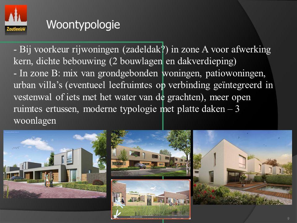 9 - Bij voorkeur rijwoningen (zadeldak?) in zone A voor afwerking kern, dichte bebouwing (2 bouwlagen en dakverdieping) - In zone B: mix van grondgebo