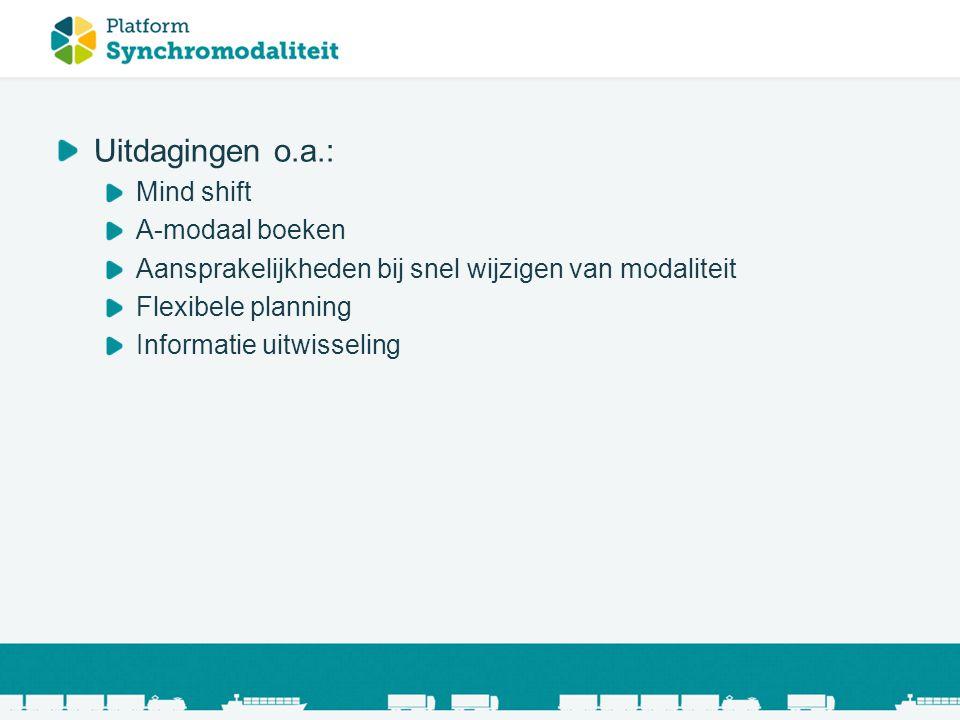 Uitdagingen o.a.: Mind shift A-modaal boeken Aansprakelijkheden bij snel wijzigen van modaliteit Flexibele planning Informatie uitwisseling